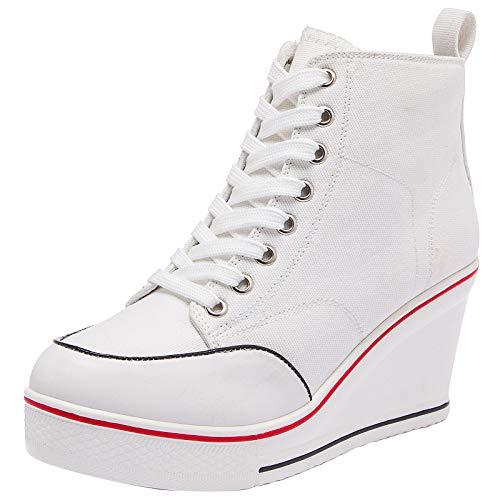 zpllsbratos Mujer Zapatos De Lona Altas Tacón Cuña Sneakers Plataforma Casuales Deporte Talla Grande(Blanco,35)