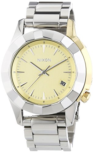 Nixon Herren-Armbanduhr XL Monarch Silver Light Gold Analog Quarz Edelstahl A2881431-00