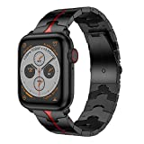 RABUZI Compatible for Apple Watch Band 44mm/42mm,Enamel Process Stainless Steel Metal Watch Replacement Bands Compatible for Apple Watch Series 5/4/3/2/1 Smartwatch,Black+Red Enamel Process