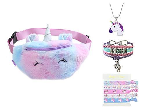 Fanovo Pochete Fofa para Meninas Unicórnio Cintura Bolsa de Pelúcia Cinto Bolsa de Peito Pequena Bolsa de Ombro, Plush - 1# Purple