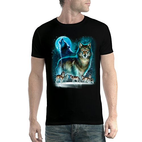 avocadoWEAR Clamoroso Lobo Horda Hombre Camiseta Negro XL
