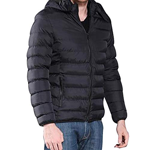 Men Warm Hooded Winter Zipper Coat Outwear Jacket Top Blouse Herren Einfarbig Herbst Und Warme MüTze Abnehmbarer Herren Dicken Mantel Kapuze Dicke Tops Jacke The Outdoor Down (schwarz,XXL)