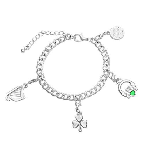 Carrolls Irish Gifts Glücksbringer-Armband mit Claddagh-, Harfe- und Kleeblatt-Design