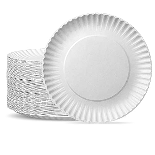 [300 Pack] Bulk Disposable White Uncoated Paper Plates, 9 Inch Large