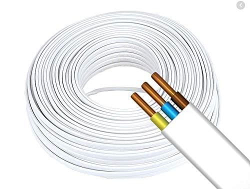 Flach Weiß Feuchtraumkabel Kabel Leitung YDY NYM-J 3 x 1,5mm | Elektrokabel Stromkabel (20m)