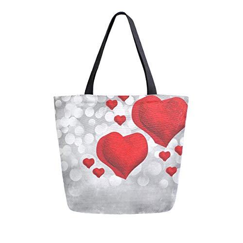 Valentinstag mit 3D-Metallherzen, Leinen-Tragetasche für Frauen, Reisen, Arbeit, Einkaufen, Lebensmittel, Handtaschen, große Tragetaschen, Baumwoll-Schultertaschen
