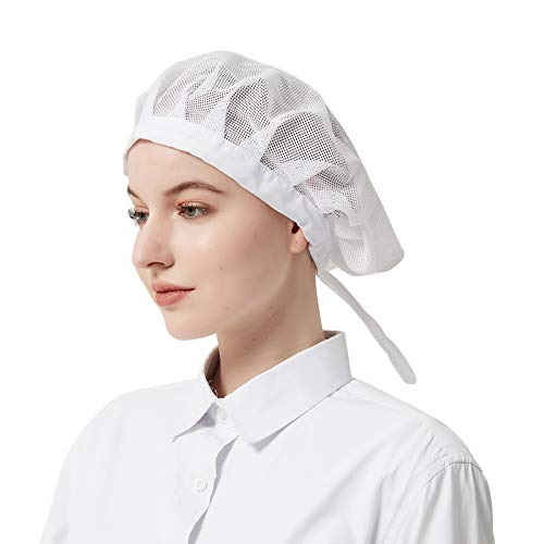 Elastic Chef Cap Cooking Hat Food Service Hair Nets Mesh Kitchen Net Reusable Restaurant Beanie (White Drawstring, one Size)