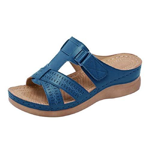 Mules Femmes Sandales Sabots Chaussons Chaussures en Cuir Mules à Plateforme Talon compensé Bout Ouvert Plage Vacances Taille 35-44 (Bleu, Numeric_37)