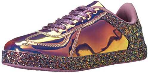 ROXY-ROSE Women Glitter Metallic Holographic Sparkle Sneakers | Shiny Snazzy Street Wedding Lace Casual Flats Sneakers (10 B(M) US, Hologram Purple/Pink)