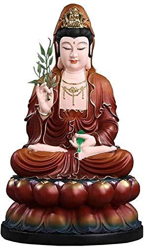 BNHY Mercy Guanyin Buddhist Decoración de la Resina Guan Yin Statue Sentado en la figurilla de Lotus Mano Que sostiene la Botella de Jade y Las Hojas de Sauce Kuan Yin Goddess Regalo 0228