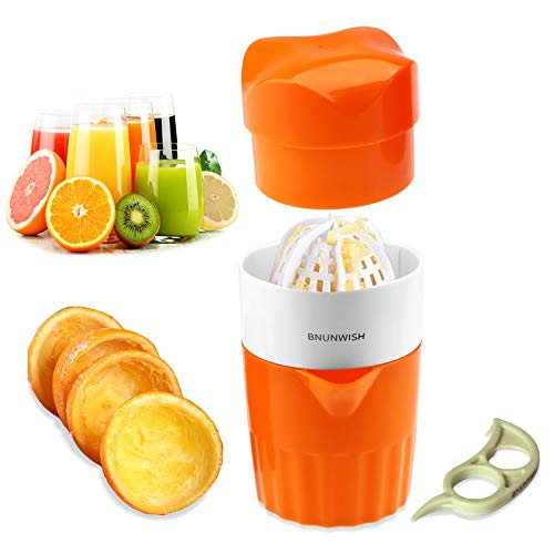 Hand Juicer Citrus Orange Squeezer Manual Lid Rotation Press Reamer for Lemon Lime Grapefruit with Strainer and Container, 2 Cups