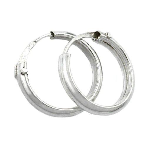 Ohrschmuck Silber Ohrringe Silber 925 Creolen klein Profil hohl Unisex 14 x 2,5 mm glänzend mit Steckverschluss Stecker inklusive Schmuckbox
