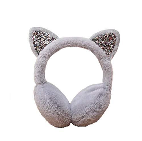 Women's Winter Warm Cat Ear Muffs Cute CatEar Earmuff for Girls (Gray)