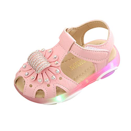 Sandalias para Bebé Niñas Riou Zapatos de la Zapatilla de Deporte de Las Sandalias del Deporte de la luz led de la Flor del Cristal Fondo Suave Lindo niños Playa Sandalias
