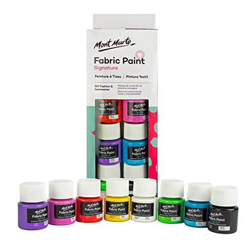 Mont Marte Textilfarben Set - 8 Stück x 20ml - Waschfeste Stoffmalfarben - Hochwertige Farben - Ideal für Kleidung, Taschen und Allen Stoffen - Perfekt geeignet für Anfänger und Profis
