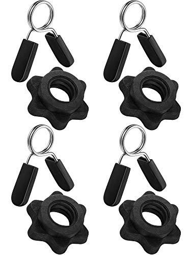 4 Stücke Feder Kragen Clips und 4 Stücke Langhantel Spinlock Kragen Hantel Schrauben Klemmen für Gewichtsstangen Langhanteln Hanteln