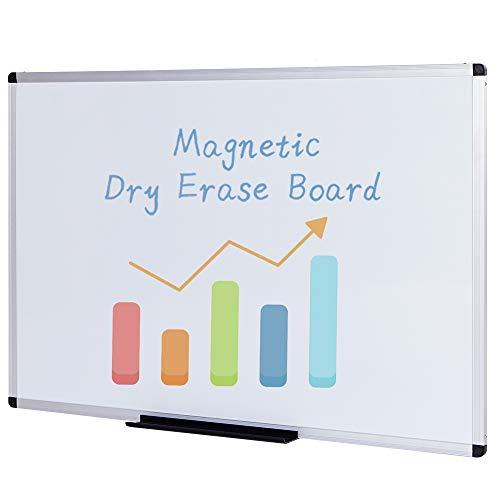 VIZ-PRO Tableau Blanc Magnétique Effaçable à sec, 110 x 75 cm, tableau mural pour bureau scolaire et maison