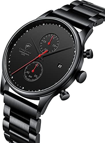 Reloj de hombre Moda Deportes Impermeable Relojes con Cronógrafo Metal Acero Inoxidable Reloj de pulsera analógico Fecha (Negro)