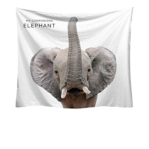 Kinntn Wandtapijt, natuur, modern, Bohemian, hippie kop, olifant, picknick, strand, bladdeken, sprei, yoga, woonkamer, slaapkamer, slaapkamer, decoratie 150x200cm