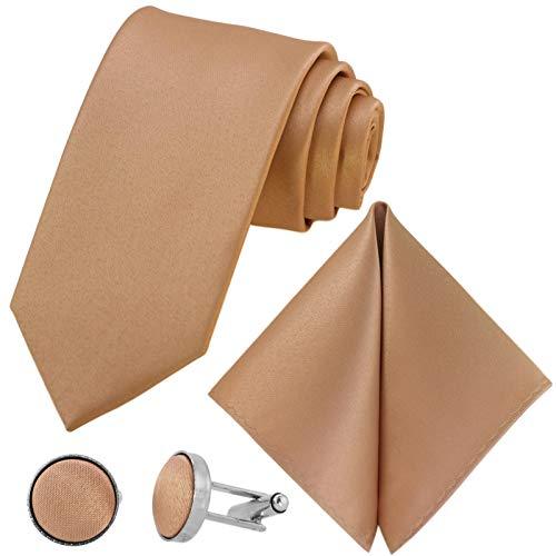 GASSANI 3-SET Krawattenset, 8cm Breite Lange Herren-Krawatte Cremefarben Manschettenknöpfe Einstecktuch, Hochzeitskrawatte Bräutigam Schmal Extra-Lang