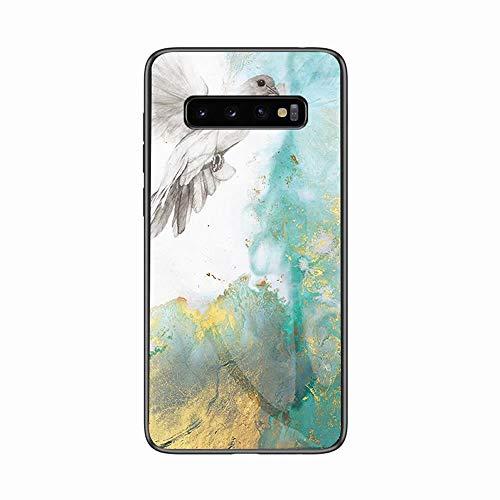 Miagon Galaxy S10 Plus Glas Handyhülle,Marmor Serie 9H Panzerglas Rückseite mit Weicher Silikon Rahmen Kratzresistent Bumper Hülle für Samsung Galaxy S10 Plus,Taube