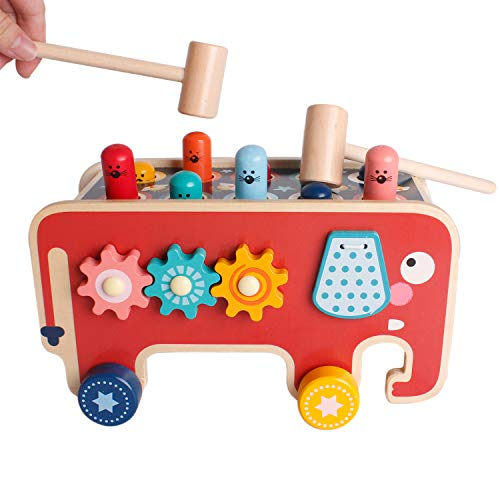SHIERDU Wooden Hammering and Pounding Toys Nail Hammer Stool Pull Along Elephant Gopher Toy Desktop Hitting Mouse and Hamster Game Toddler Drag Toys 1-3 Years Old Boys and Girls