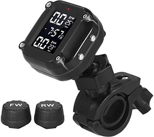 AIHOUSE Sistema De Monitoreo De Presión De Neumático Inalámbrico 7 Modos De Alarma TPMS Impermeable AUTOMÁTICO AUTOMÁTICO con 2 SENSORES EXTERNOS para MOTORCICLOS