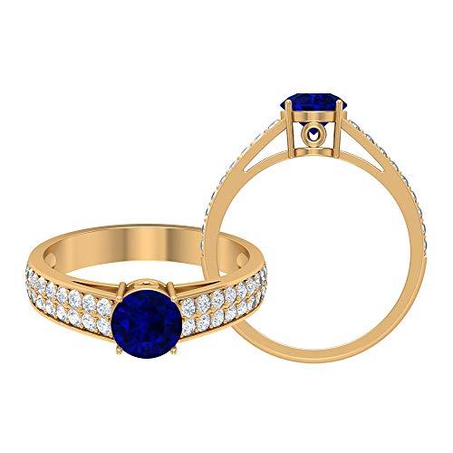Solitär-Goldring, 1,61 ct, runde Edelsteine, D-VSSI Moissanit 6 mm blauer Saphir Labor erstellt Verlobungsring Kronenfassung Ring Doppelseitiger Stein Ring, 14K Gelbes Gold, Size:EU 44