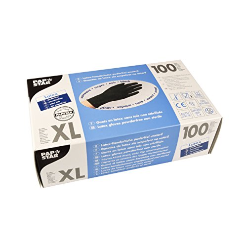 PAPSTAR Handschuhe, Latex, schwarz, 7.5 x 24 x 12.5 cm