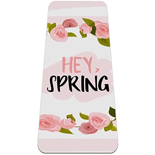 nakw88 Esterilla de yoga antideslizante con diseño de flor rosa para yoga, pilates y ejercicios de suelo (182,8 x 60,9 x 60,9 x 6 mm) para mujeres y niñas