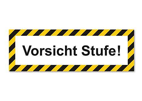 Premium Aufkleber Vorsicht Stufe Hinweis Schild Sticker Wetterfest und UV-Beständig