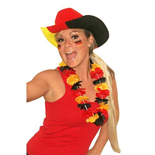 Amakando Deutschlandkette Hawaiikette Deutschland schwarz rot Gold hawaiianische Blumenkette Fanartikel Fußball Hulakette
