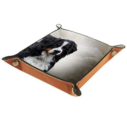 XiangHeFu Berner Sennenhund Art Valet Tray Ledertablett Leder Catchall Schlüssel Handy Münzkasten für Schlüsselgeld Nachttisch Storage Container Box Organizer