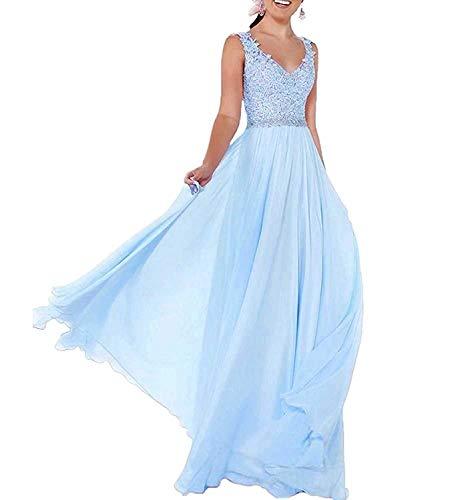 Beyonddress Damen Chiffon Abendkleider Lang Hochzeit V-Ausschnitt Brautkleid Ballkleider Brautjungfern Kleider(Blau,38)