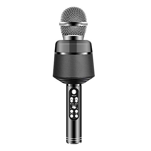SXT Wireless Bluetooth Microphone, Multi-Function Portable Handheld Player Can Be Connected To U Disk, Used for Family Party/Stage/Children'S Gifts,Black