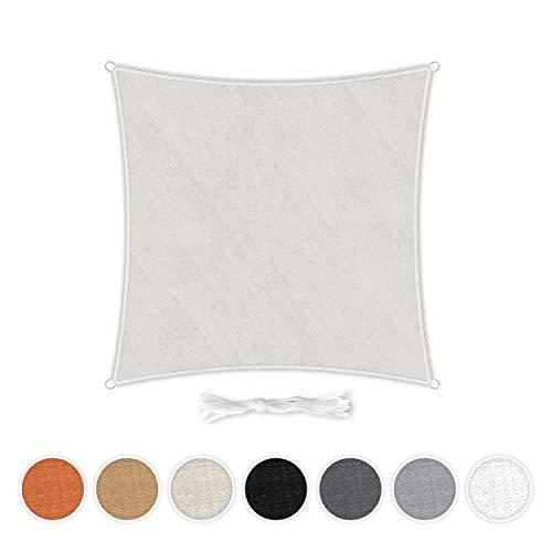 Hometex Premium Textiles Sonnensegel 3×3m Quadratisch inkl. Befestigungseile | Sahne | Sonnenschutz...