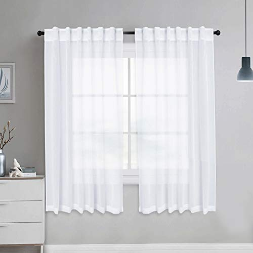 NICETOWN Sheer Curtains Linen Textured, Country Style Home Decor Bedroom Window Privacy Translucent Semi Voile Sheer Drapes for Kids Room, 55 x 63 Inch, White