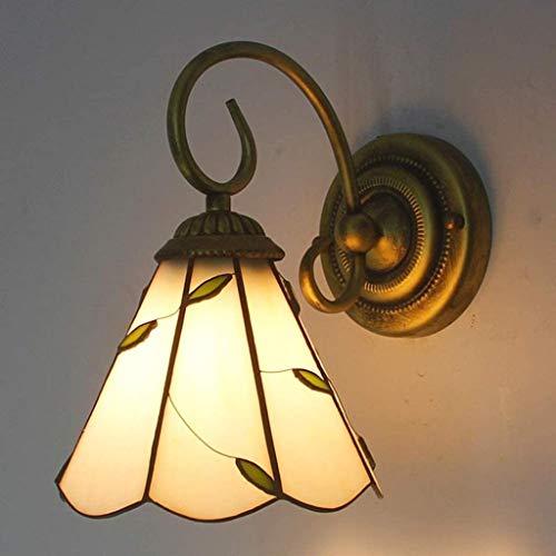Lámpara de pared luces lámpara de pared, lámpara de pared de Tiffany de cama mesitas beige pantalla de cristal hoja modelo de pared carcasas espejo frontal sanitarios del baño de iluminación ilum