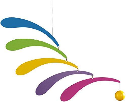 Flensted Mobiles Flowing Rhythm Rainbow Hanging Mobile - 18 Inches - Wood