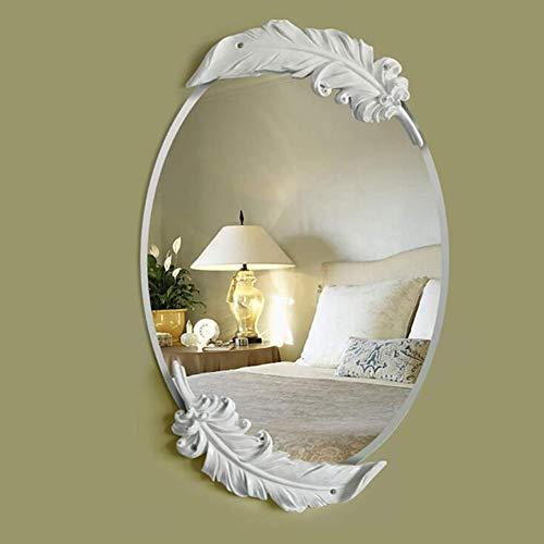 CLX Körperpflege in Feather Spiegel Barock, Barock Oval Spiegel, Spiegelwand Spiegelwand - Spiegel Körperpflege in Feder Idylle Retro, dekorativen Spiegel Antike Schönheit,Weiß,Big