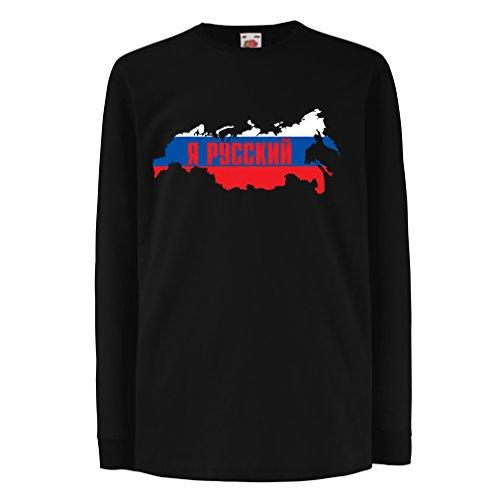 Kinder-T-Shirt mit Langen Ärmeln ЯРуский, Россия, Ich Bin Russisch, Russland (14-15 Years Schwarz Mehrfarben)