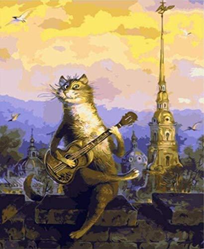 HAON Paint by numbers canvas gitaar spelen Dierlijke kat voor volwassenen Kinderen Beginner Canvas Olieverf Verf Kunst Woondecoratie-16X20 Inch (zonder frame)