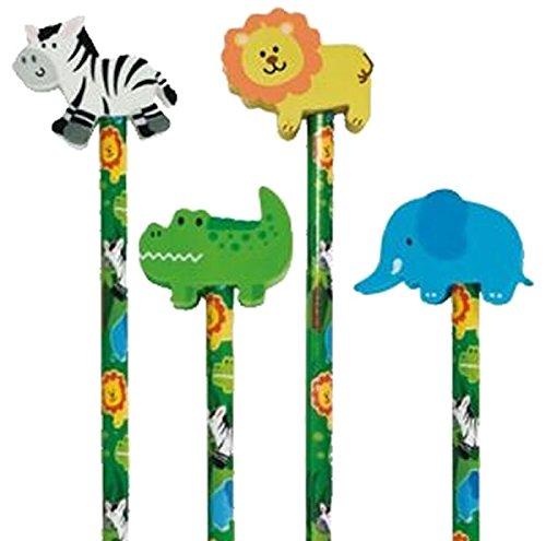 Reegen 4 Bleistifte * Safari - Wilde Tiere * mit Radiergummi für Schule und Kindergarten // Stift Zeichnen Schreiben Kind Dschungel