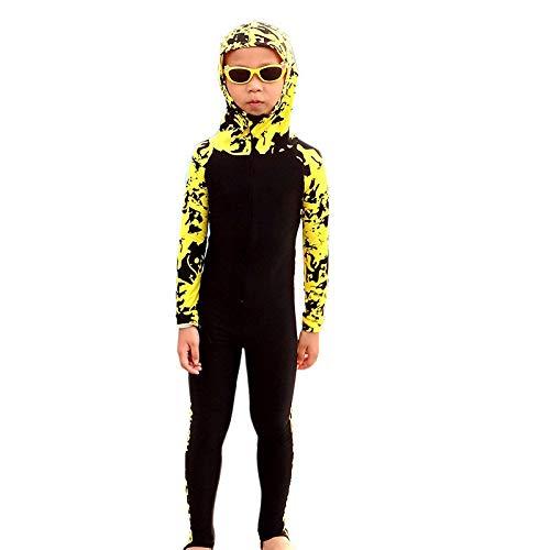 QSFDM Wetsuit Nieuwe Kinderen Lycra Wetsuits Lange Mouw Hooded Bloem Print Duiken Wetsuits Kinderen Full Body Zwemkleding Surf Duiken Wetsuits
