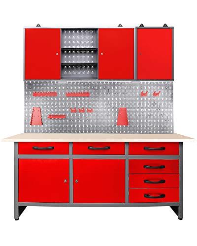 Ondis24 Werkstatteinrichtung rot Werkbank Werktisch Montagewerkbank Werkstatttisch Schubladenschrank Werkstatt