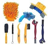 GJCrafts Juego de 9 cepillos de limpieza de cadena de bicicleta, apto para cadena/manivela/resorte/esquina de neumáticos, óxido y suciedad