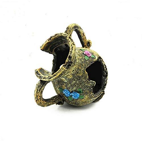 JJSFJH Zerbrochene Vase Aquarium Zubehör Aquarium Hideout Ruin Ornament, Aquarium Dekoration Antike Vase