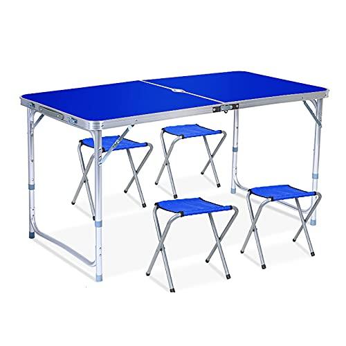 ZDYLM-Y Mesa de Camping Plegable con Kit de 4 sillas y Orificio para Paraguas, Mango portátil de Escritorio de Aluminio Ajustable en Altura, Resistente a la Intemperie y al óxido,Azul