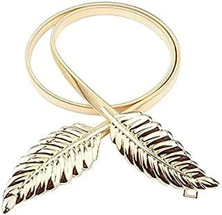 Satyam Kraft Golden Diva Dainty Leaves Golden Skinny Stretch Metal Belt For Women/Girls