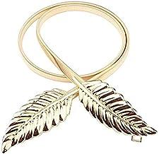 Satyam Kraft Celebrity Inspired Golden Diva Dainty Leaves Golden Skinny Stretch Metal Belt For Women/Girls
